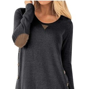 Tops - New Sleeve Faux Suede Loose Tunic Button